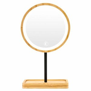VIKMARI 化粧鏡 卓上ミラー 鏡 化粧ミラー 女優ミラー 充電式 24個LEDライト付き かがみ 寒暖色調節可能 360度回転 shimoyana