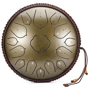 BQKOZFIN スリットドラム 15音 スチールタングドラム 金属ドラム 14インチ 打楽器 マレット 収納バッグ付き 取扱|shimoyana