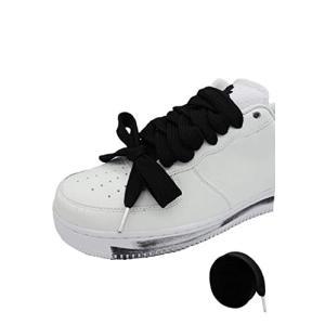 SHOELACES シューレース 靴紐 平紐 ビックサイズ 140cm 紐の幅1.5cm 存在感 立体感 極太シューレース (ブラック)|shimoyana