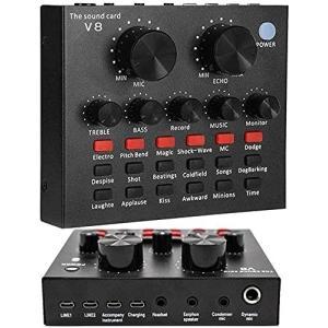 ボイスチェンジャー、V8 Sound Card サウンドカード Bluetooth Mixer ミキサー 音楽 楽器/Phone iPhone iPadスマホ/PC用サウ|shimoyana