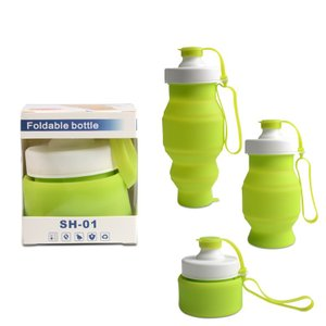 水筒 アウトドア携帯式ボトル 折りたたみ水筒 シリコンボトル スポーツボトル 530ml|shin-8