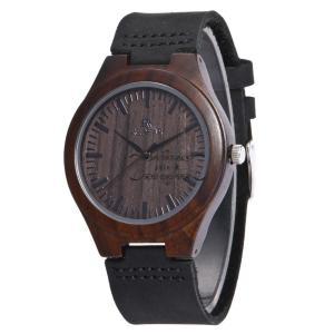 腕時計 木製 木 黒檀 レザー 本革 メンズ レディース クォーツ 天然木 クォーツ時計 木の温もり おしゃれ かっこいい 人気急上昇 ペアルック カップル|shin-8
