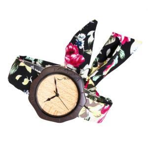 レディース 腕時計 布バンド 黒檀 木製 オリーブ 旅行 女性用 軽い 品質 大人気 お出かけ ファション きれいめ 上品 大人 花柄 布 オシャレ 大人気 上品|shin-8