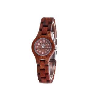 レディース 腕時計 木製腕時計 クォーツ時計 黒檀 赤檀 上品 シンプル 天然木 木の温もり 木の香り プレゼント 普段着 自然に優しい|shin-8