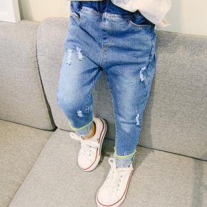 デニム パンツ ストレート ジーンズ ジーパン ストレッチ ダメージ ロールアップ 2019 新作 キッズ 子供服 男の子 女の子|shin-8
