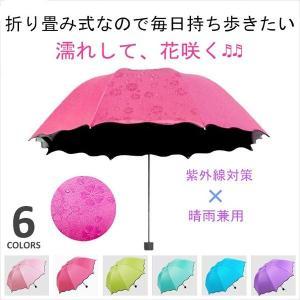 折りたたみ傘 完全遮光 花見 日傘 8本骨 晴雨兼用 UV対策 濡れると花咲く 携帯用 軽量 レディース 大きい 丈夫 shin-8