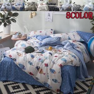 シーツセット ベッドカバー 掛け布団カバー 枕カバー フィッティドシーツ 4点セット ベッドリネン 花柄 ベッド用品|shin-8