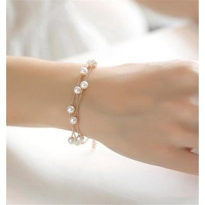ブレスレット バングル レディース アクセサリー 女性 プレゼント ギフト ファッション パール ラインストーン shin-8