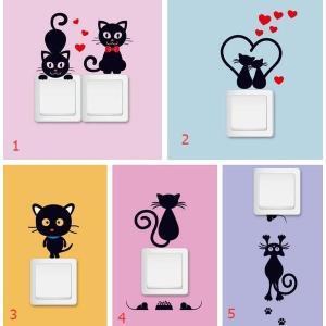 ねこステッカー DIY壁紙★壁ステッカー 黒猫 shin-8