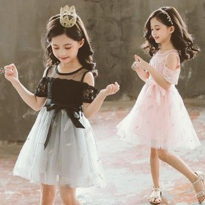 子供服 ワンピース キッズ 女の子 春夏 子供ドレス  韓国子供服 ジュニア レースワンピース 膝丈 半袖 肩出し カジュアル おしゃれ 可愛い 小学生 通学着の画像