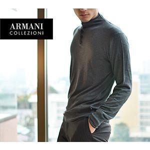 ARMANI COLLEZIONI アルマーニ コレツィオーニ モックネック ニット セーター グレ...