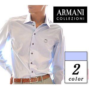 アルマーニ ボタン シャツ 長袖 メンズ 白 ホワイト ライト ブルー  ARMANI COLLEZ...