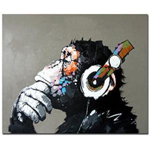 Fokenzary完全手書き 絵画 壁掛け油彩画音楽を聴く猿抽象画現代ポップアート(50x60cm)