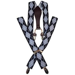[ルビタス] メンズ サスペンダー Y型 フォーマル 吊り バンド 幅広 ズボンベルト (Y型 菱形...
