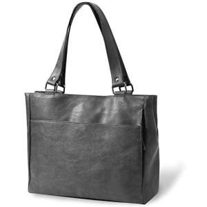 REOTTI トートバッグ A4対応 2段ポケット 無地 シンプル (グレー)