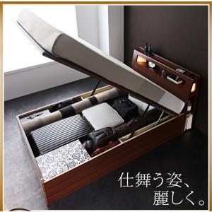 大量 Cyrus 大容量 サイズ ガス圧 棚付き 照明付き サイロス 木製ベッド 収納ベッド セミシングル 収納付きベッド コンセント付き 跳ね上げベット 040107201|shiningstore-life|02