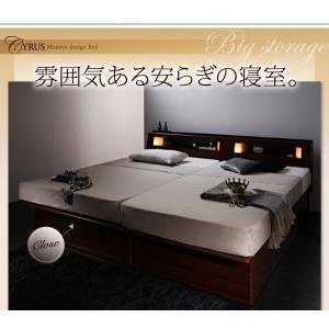 大量 Cyrus 大容量 サイズ ガス圧 棚付き 照明付き サイロス 木製ベッド 収納ベッド セミシングル 収納付きベッド コンセント付き 跳ね上げベット 040107201|shiningstore-life|04
