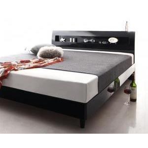 棚付き コンセント付き ベッド クイーン すのこベッド Morenoble モアノーブル 国産ポケットコイルマットレス付き クイーンサイズ ベッド ベット 鏡面仕上げ 宮