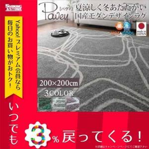 夏涼しく冬あたたかい 国産モダンデザインラグ pavey パヴィ 200×200 040702172