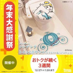 トイレ2点セット(フタカバー&トイレマット) ディズニー シンデレラ NDY-16|shiningstore