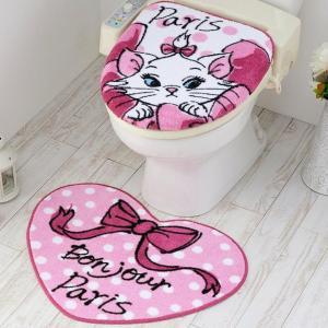 トイレ2点セット(洗浄・暖房便座用フタカバー&トイレマット) ディズニー おしゃれキャット マリー SB-387|shiningstore