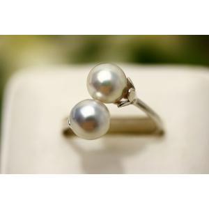 真珠 指輪 アコヤパールリング 2ヶ付 7.5-8.0mm ナチュラルカラー SV製...