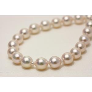アコヤ真珠パールネックレス 7.0-7.5mm ホワイトピンクグリーンカラー...