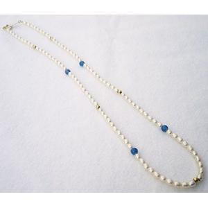 パーティー 結婚式 ネックレス ホワイトゴールド 真珠 淡水パール ネックレス 真珠 パール ブルーカルセドニー 冠婚葬祭|shinjunomori
