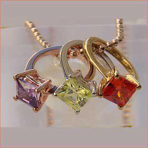 キュービックジルコニア ベビーリング ネックレス 3つのリング チェーン 全長45cm|shinjunomori