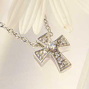 クロス ペンダントネックレス 十字架 キュービックジルコニア|shinjunomori
