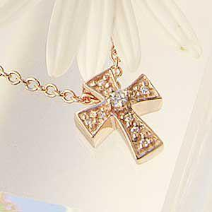 クロス ペンダントネックレス 十字架 キュービックジルコニア チェーン付|shinjunomori