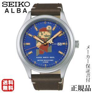 SEIKO アルバ ALBA スーパーマリオ コラボ ビッグサイズ マリオ  男女兼用 自動巻き アナログ 腕時計 正規品 1年保証書付 acca401|shinjunomori