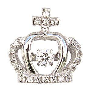 クラウン ダンシングストーン タイニーピン ブローチ トゥインクルセッティング 王冠 K18WG ホワイトゴールド ダイヤモンド|shinjunomori