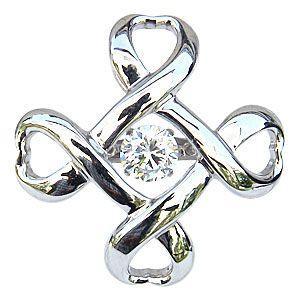 一粒 ダイヤモンド 0.50ct ブローチ タイニーピン K18WG ホワイトゴールド ダンシングストーン トゥインクルセッティング クロス|shinjunomori