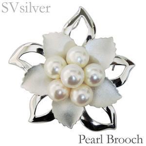 ブローチ 花 モチーフ マルチプル 複数珠 あこや本真珠 7mm×6個 SVシルバー レディース|shinjunomori