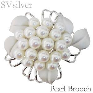 ブローチ コサージュ フラワー モチーフ マルチプル 複数珠 あこや本真珠 8mm×20個 SVシルバー レディース|shinjunomori