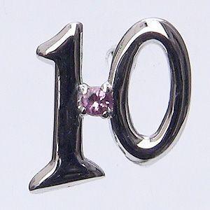ピンクトルマリン 10月誕生石 ラッキーナンバー10 タイニーピン ホワイトゴールド|shinjunomori