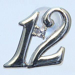 ラッキーナンバー12 タイニーピン ホワイトゴールド 12月誕生石 タンザナイト|shinjunomori