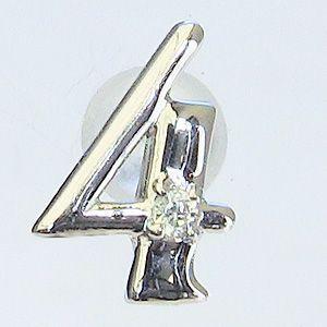 ラッキーナンバー4 タイニーピン ホワイトゴールド 4月誕生石 ダイヤモンド|shinjunomori