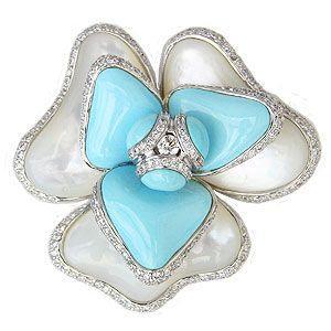 ターコイズブローチ トルコ石ブローチ 白蝶貝ブローチ コサージュ ダイヤモンド ペンダント兼用|shinjunomori