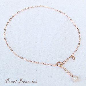 ブレスレット ピンクゴールド あこや真珠 パール 6月誕生石...