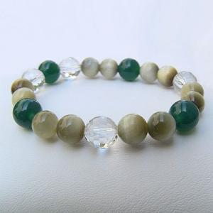 パワーストーン ブレスレット クリソ(緑メノー) ホワイトタイガーアイ 白水晶120面カット|shinjunomori