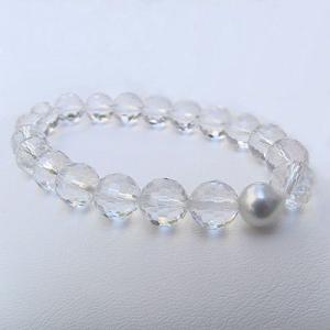 ブレスレット パール あこや真珠 白水晶120面体カット 冠婚葬祭|shinjunomori