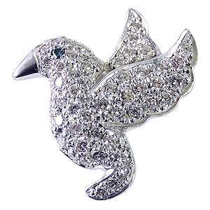 ブローチ ラペルピン タイニーピン ピンズ ピンブローチ 鳥 バード ダイヤモンド ブルーダイヤモンド ホワイトゴールド|shinjunomori