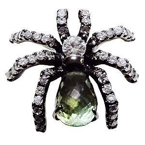 ブローチ 蜘蛛 くも ピンズ スパイダー ラベルピン ダイヤモンド グリーンサファイア K18ホワイトゴールド ジュエリー|shinjunomori