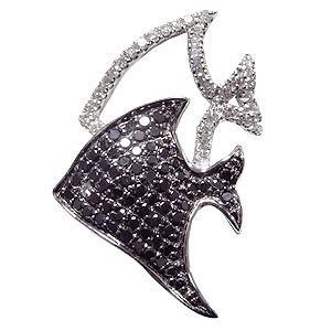 ブローチ 熱帯魚 ねったいぎょ ピンズ さかな ラベルピン ダイヤモンド ブラックダイヤモンド K18ホワイトゴールド ジュエリー|shinjunomori