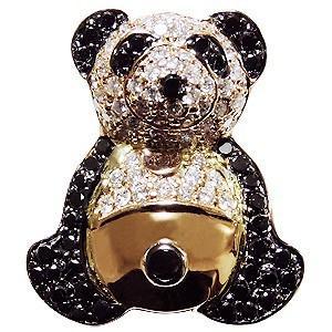 ブローチ パンダ ぱんだ ピンズ 猫熊 ラベルピン ダイヤモンド ブラックダイヤモンド K18 ジュエリー|shinjunomori