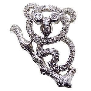 ブローチ コアラ こあら ピンズ ラベルピン ダイヤモンド K18ホワイトゴールド ジュエリー|shinjunomori