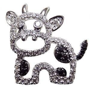 ブローチ 牛 うし ピンズ COW ラベルピン ダイヤモンド K18WGホワイトゴールドジュエリー|shinjunomori