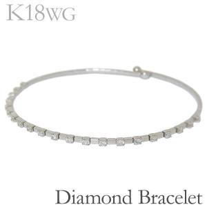 ブレスレット バングル ボールエンド 21石 ダイヤモンド K18ホワイトゴールド レディース|shinjunomori
